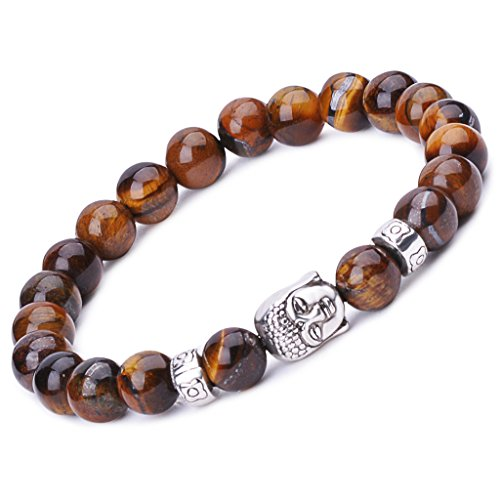 Infinite U Womens Mens Buddha Bracelet 9mm Beads Wrist Mala Alloy Energy Stone Stretch Bracelet, Therapy Yoga Meditation, Brown