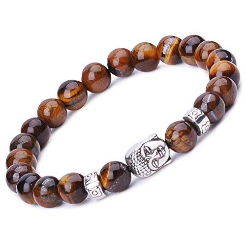 Unendlich U Unisex Buddha Armband, Zen-Buddhismus Legierung Armreif, EnergieStein Kugeln Perlen Gebet Mala Stretch Energiearmband, Braun