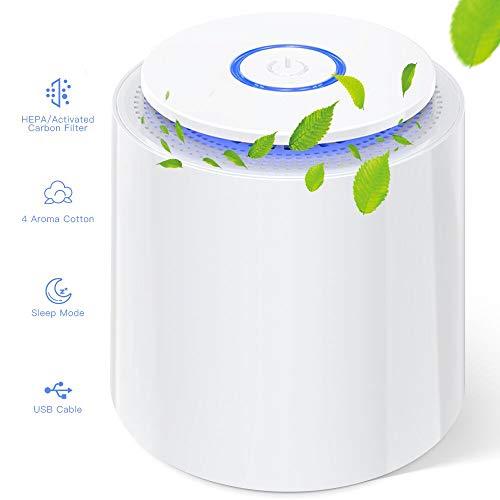 Mini Luftreiniger, Air Purifier mit HEPA Filter und Aktivkohlefilter, Desktop Luftreiniger mit Duft Baumwolle, gegen Allergien/Staub/Pollen/Rauch/Tierhaare usw, Ideal für Zuhause/Büro/Auto