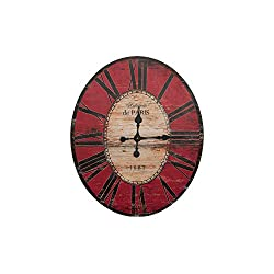 Creative Co-op Distressed Wood Wall Clock, 29 Oval, Red