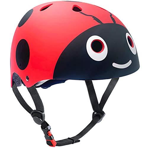 Casco para niños y niñas Casco cómodo Ajustable de Seguridad para patineta, patineta, Bicicleta (3-8 años) (Red Ladybug, S(3-8years Old))