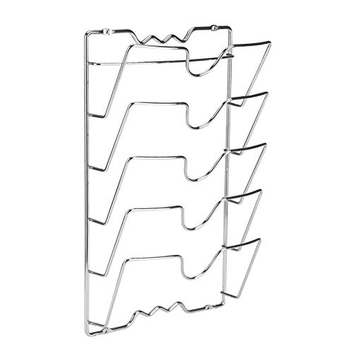 OldPAPA Pared Tapa de olla rack, Accesorios de olla de cocina-Metal cromado organizador- 5 apartados Tapa de olla estante Gabinete soportes