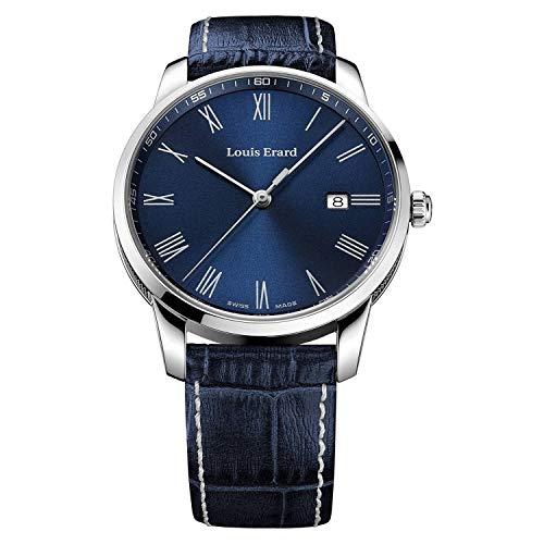 Louis Erard Reloj de cuarzo para hombre Heritage de acero inoxidable con correa de cuero azul 17921AA25.BEP102