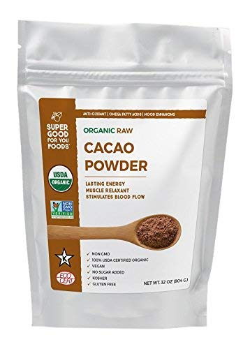 Super Good For You Foods Raw Cacao Powder, USDA Certified Organic, Gluten-Free, Non-GMO, Vegan, No Sugar Added, Kosher, 32 oz