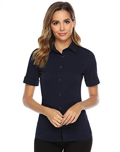 Abollria Damen Bluse Basic Stretch Hemdbluse Elegante 3/4 Arm Business Blusen Button Down fürs Büro,Dunkelblau,L