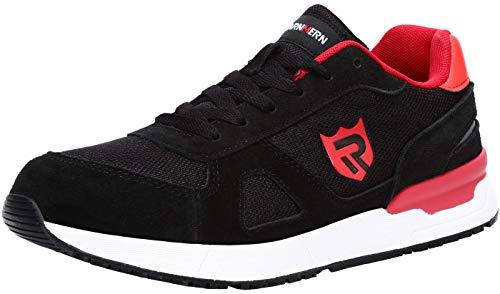 LARNMERN Zapatos de Seguridad Hombre Mujer con Puntera de Acero Zapatilla, Antideslizante ESD Comodos Calzado de Trabajo Industrial (Rojo 43 EU)
