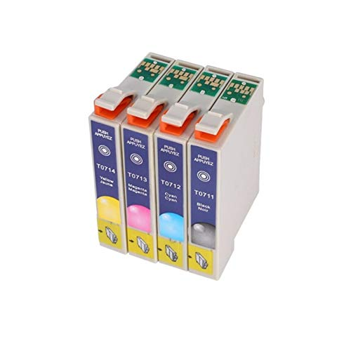 XIAOFANG Fangxia Store T0711 T0715 Cartucho de Tinta Ajuste para Epson Stylus SX110 SX215 SX218 SX400 SX405 SX405WIFI SX410 SX415 SX510W SX515W DX7400 Impresora