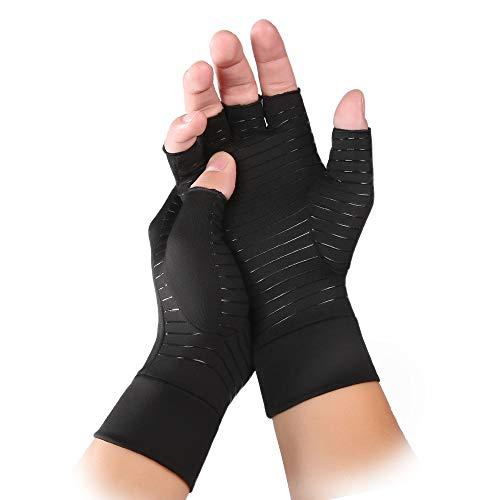 INSTINNCT Copper Compression Gloves for Men & Women, Open-Finger Gloves for...