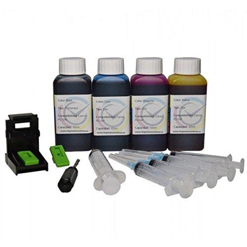 Кit ricarica cartucce PG-540, CL-541 nero e colore, Inchiostro Inktec 400ml di altà qualità + refill clip per stampante MG3150