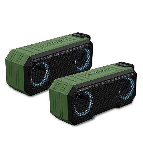 Sound Town 2-Pack of X8 Portable TWS Bluetooth Speakers, IPX7 Waterproof, Stereo Sound, LED Light, Built-in Mic for Phone Calls and Battery Power Bank, for Home and Outdoor, Green (X8-GN-Pair)