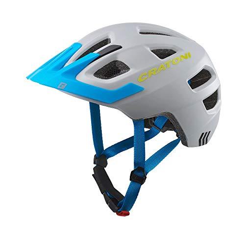 Cratoni Kinderhelm Maxster Pro Fahrradhelm Kinderhelm Jugendhelm mit Rücklicht, Grey Blue, S/M