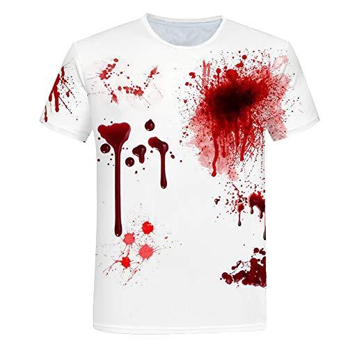 FANGDADAN 3D Printed T-Shirts,Unisex Neuheit 3D Scary Blutflecken Drucken T-Shirts Kurzarm Sommer Paar Fashion Casual Groß-Stücke Tops Für Männer Frauen Jugend,XL