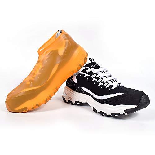 「2セット」 シューズカバー 防水 靴カバー シリコンシューズカバー 汚れ 梅雨対策 靴保護カバー 台風対策 靴用カバー アウトドア 滑り止め レインシューズカバー 男女兼用 (S,オレンジ)