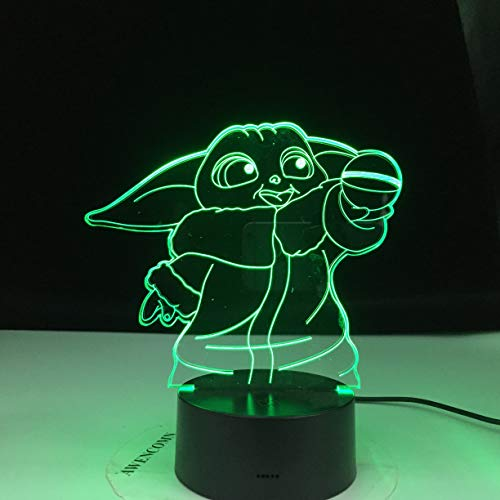 Star Sci-Fi Movie Wars Yoda Meme Figure Mini Yoda 3D LED Night Light Table Lamp Bedside Decoration Kids Gift