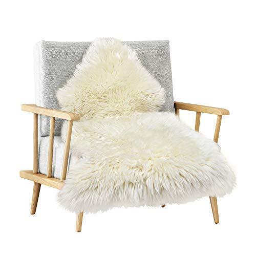MYLUNE HOME Natur Schaffell Teppich Lammfell Sitzfell Bett-Vorleger oder Matte für Wohnzimmer Stuhl Sofa Weiß