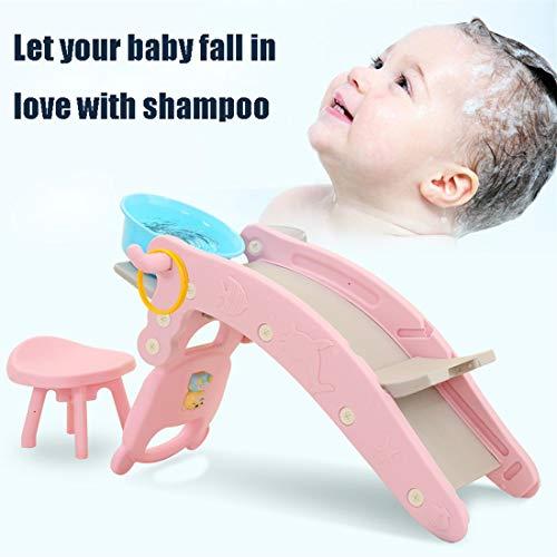 EDTXN Kinder Shampoo Bett Slide und Schaukelpferd Kombination mit Musik/Basketball Kinder Indoor Outdoor Slide Garten Spielplatz Geeignet for 1-6 Jahre alte Kinder (Color : Pink)