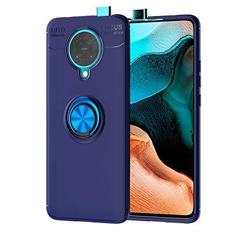 TANYO Hülle Geeignet für Xiaomi Pocophone F2 Pro 5G, Ringhalterung Magnetic Car Mount Series, Superdünn Weich Silikon TPU Handyhülle Und 360 °Drehbarer Halter. Blau
