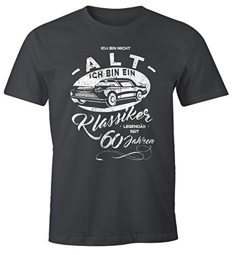 MoonWorks Herren Geschenk T-Shirt zum Geburtstag Ich Bin Nicht alt Ich Bin EIN Klassiker Auto Retro Oldtimer Spruch 30-90 Jahre 60 dunkelgrau M