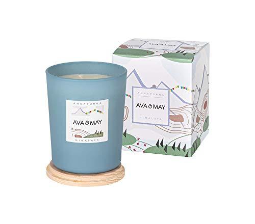 AVA & MAY Himalaya Candela profumata (180g) – Vasetto di Vetro con Candela vegana al Pino, rosmarino e Timo – Candele Artigianali al Profumo di Natura