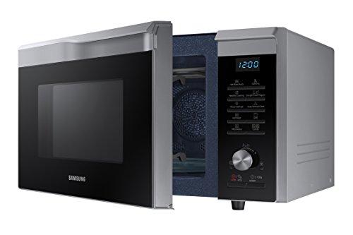 Samsung Mc28M6055CS/EC - Horno-Microondas con grill, 900W/1500W/2100W, 28 litros, interior de cerámica, ventana EasyView y función horno hasta 200º C, color gris, 51,7 x 31 x 46,3 cm