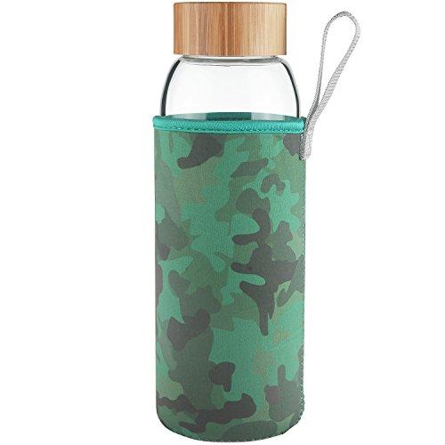 Ferexer Botella de Agua de Cristal de Vidrio con Tapa de Bambu 1000 ml 1 L (Camuflaje)