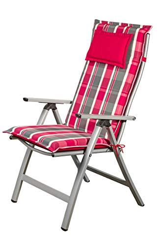 Homeoutfit24 Sun Garden 1-Stück Gartenstuhl-Auflage Donau in Rot/Grau, gepolstertes Sitzkissen mit Kopfpolster für Hochlehner-Gartenmöbel, abnehmbar und waschbar, 120 x 50 x 6 cm