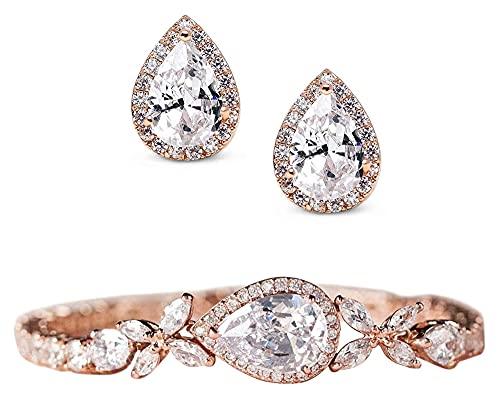 Lzpzz Pendientes de boda y pulsera de oro rosa para mujer