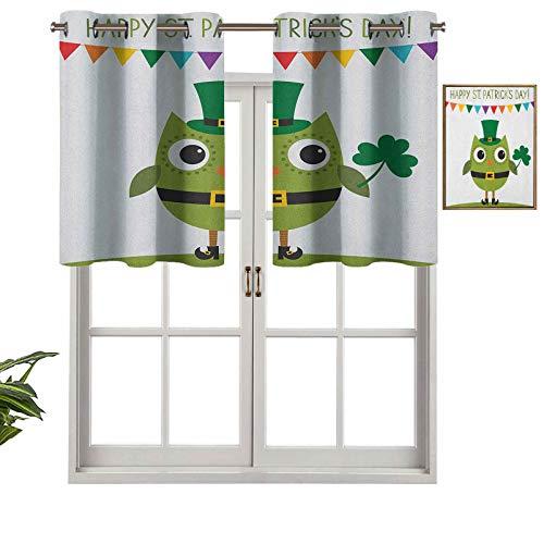 Hiiiman Cenefa de cortina opaca con ojales, diseño de búho con disfraz de duende para fiestas, diseño de trébol, juego de 2, 106,7 x 91,4 cm, tratamiento de ventana para sala de estar