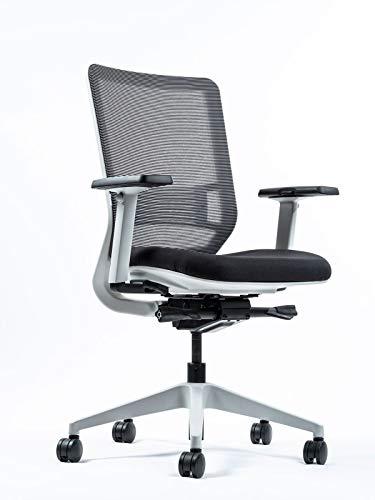Yaasa Chair Ergonomischer Bürostuhl, mit Einstellung der Sitztiefe, 3D-Armlehnen, Lordosenstütze, Traglast 130kg, Weiß