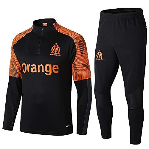 LZMX Marseille Fußball-Trainingsanzug Leichtathletik-Team-Wettbewerb Sporthalb Zipper Sport Männer Fußball langärmelige Rundhalsausschnitt-Anzug (Size : M)