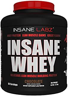 Insane Labz Insane Whey,100% Muscle Building Whey Isolate Protein, Post Workout, BCAA Amino Profile, Mass Gainer,Meal Replacement,Kosher and Halal Approved, 5lbs, 60 Srvgs, Chocolate
