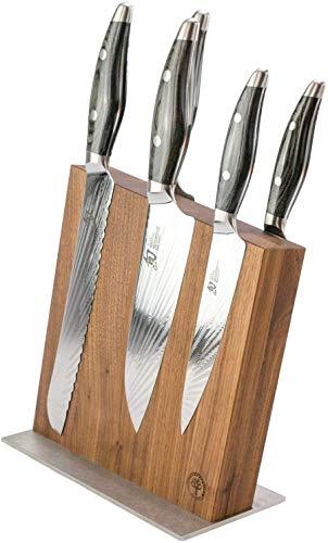 Exklusives Kai Shun Nagare Set, japanische Profimesser aus Damaststahl + Magnetmesserblock Walnuss (Variante B mit 5 Messer)