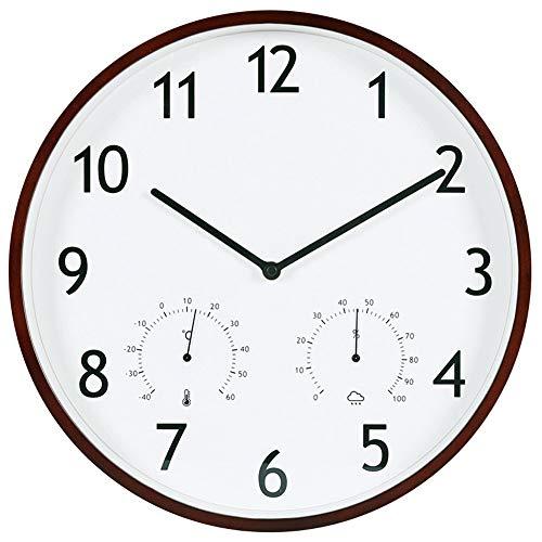 Wandklokken Silent Wall Clock woonkamer decoratieve klok thermometer hygrometer klok Houten kwartsklok Woondecoratie (Color : A)
