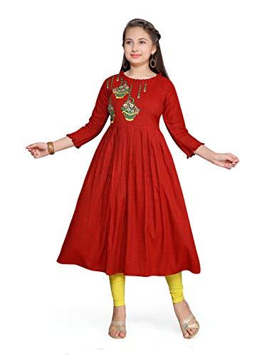 Aarika Girl's Cotton Knee-Long Salwar Suit (Kurti-TR-TC Maroon_10-11 Years)