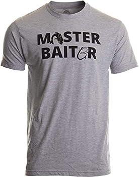 Masterbaiter   Funny Fishing Fisherman Fish Master Baiter Dad Grandpa Joke T-Shirt- Adult,L  Sport Grey