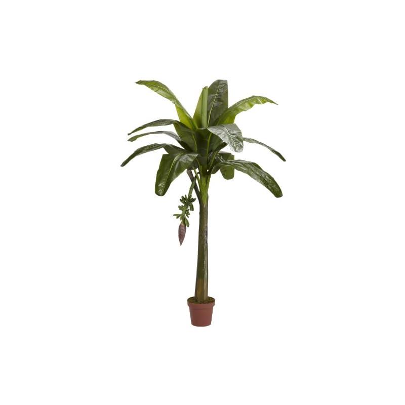 silk flower arrangements nearly natural 5338 real touch banana silk tree, 6-feet, green