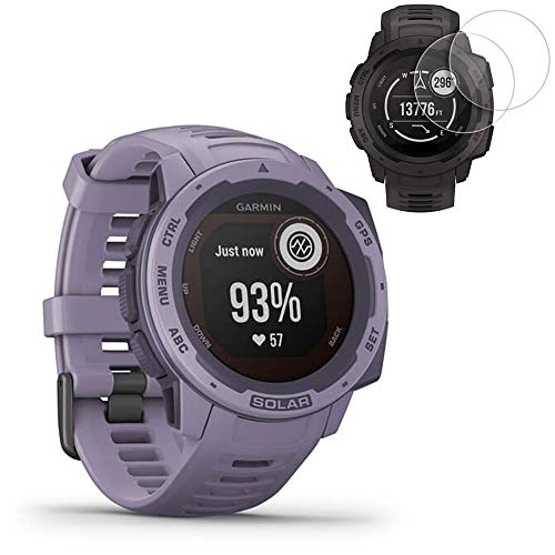 Garmin Instinct Solar GPS Smartwatch- Orchid (010-02293-12) with 2X Screen Protectors