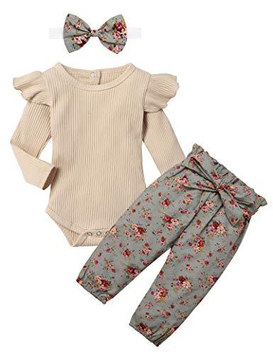 KANGKANG Newborn Baby Girls Clothes Cute Baby Clothes Girls Romper + Pant 3pcs Winter Outfit 3-6 Months Light Brown