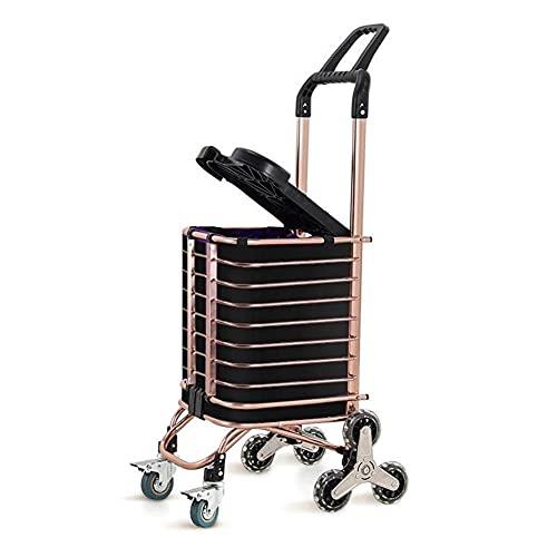 WANGYIYI Carrito de Compras Plegable para comestibles Carritos de la Compra con Ruedas giratorias Carretilla de Mano de aleación de Aluminio Dorado con Cubierta para Subir escaleras (Color : Black)