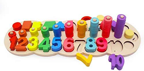 XIAPIA Moentessori Spielzeug ab 3 Jahre aus Holz | Stapelturm Motorik Lernspielzeug für Jungen und Mädchen | Steckspiel mit Geometrie und Zahlen Geschenk für Baby Kinder