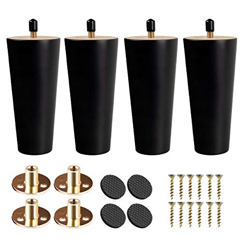 4 inch Solid Wood Furniture Legs, Btowin 4Pcs Mid-Century Modern Black Wooden Replacement Feet with Threaded 5/16'' Hanger Bolts & Mounting Plate & Screws for Sofa Couch Armchair Cabinet TV Stand