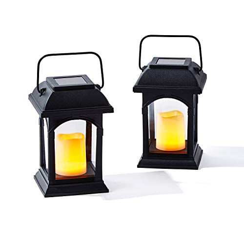 Farolillos solares pequeños para exteriores – Linterna negra de 6 pulgadas con vela LED solar, resistente al agua, temporizador de...