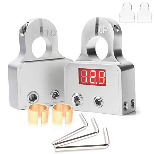 MNJ Motor Car Battery Terminal Connectors with Voltmeter - 0/4/8 AWG Positive Negative Battery Post Clamp and Shims for Car Auto Caravan Marine Boat Motorhome (Pair)