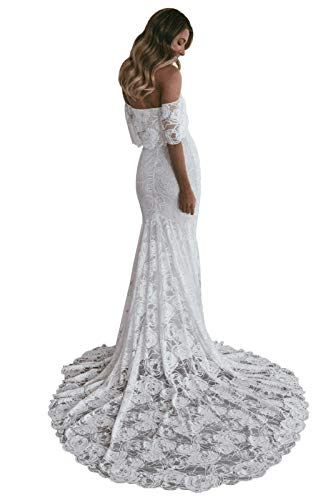 Stylefun Off Shoulder Lace Bohemian Wedding Dresses for Bride 2020 Mermaid Beach White Bridal Gowns for Women 14