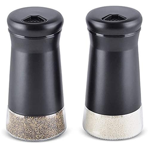 Camisin Salero y pimentero con agujeros ajustables y dispensador de sal y pimienta de acero, perfecto para sales de mar, 2 unidades