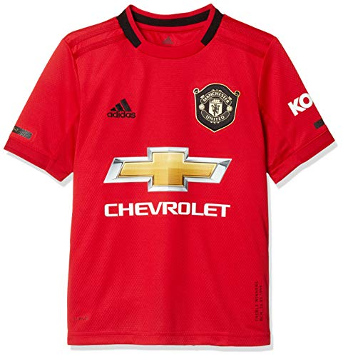 adidas Manchester United FC Official 2019/20 Short Sleeve Home Jersey - Youth - Real Red/Black - Age 9-10