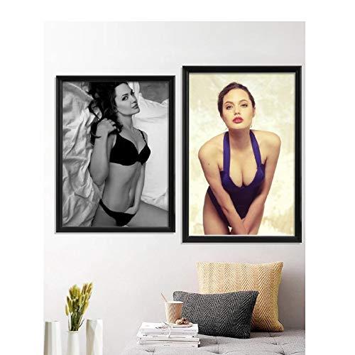 Yxjj1 Angelina Jolie estrella de cine bikini pecho sexy vestido cuerpo húmedo atractivo cartel decoración pared de la habitación impresiones -20x30 en sin marco x 2 piezas