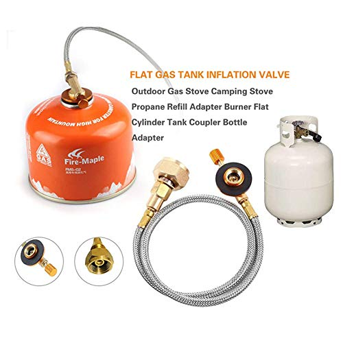 awhao Gas Tank aufblasbares Ventil Conversion Joint, Outdoor-Brenner Flach aufblasbares Ventil Adapter Joint, Camping Herd Refill Adapter, Zylinder Tank Koppler Flasche Adapter Approachable