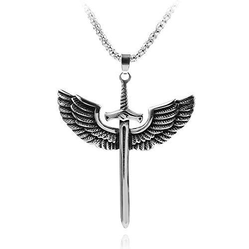 Collar de alas de espada vintage gótico para hombres, mujeres, accesorios de cadena, modelo de armas, collares colgantes, joyería, regalos