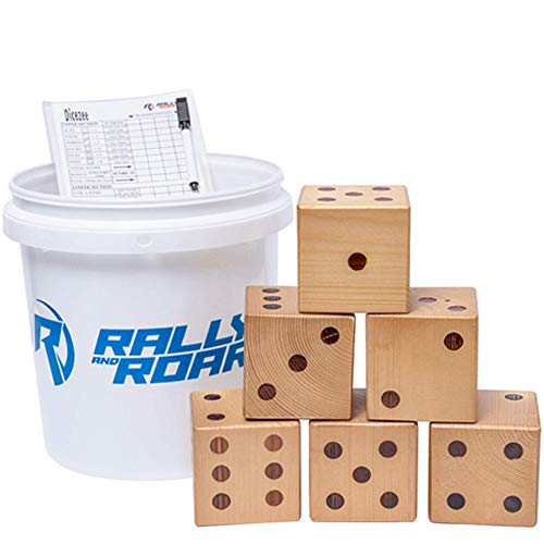 """Rally and Roar Giant Dice 3.5"""" Game Set of 6 Varnished Dice WITH Bucket for Adults, Families - Outdoor Wooden Dice Games Sets - Fun, Interactive Clean Family Games - Clean, Interactive Activities"""